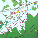plan des pistes de ski de fond au Bourget en Huile