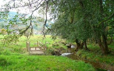 Passerelle en bois au bord du Gelon au Bourget en Huile