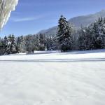 Paysage de neige au Bourget en Huile