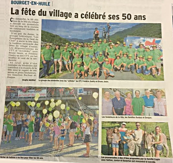 Article du Dauphiné Libéré sur la fête du Bourget en Huile